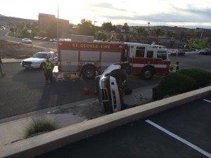 One-vehicle accident near the Courtyard Marriott in St. George, Utah, April 20, 2015 | Photo by Ric Wayman, St. George News