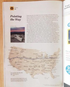 """Pointing the Way"" article in April 2015 National Geographic, featuring photos of the local aviation arrows 