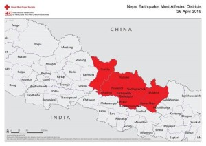 Map of Nepal and surrounding areas, April 25, 2014 | Image courtesy of the Red Cross, St. George News