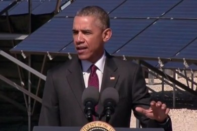 During a visit to Utah, Pres. Barack Obama spoke about renewable energy and a goal to created 75,000 new jobs in the solar power industry by 2020, plus the launch of a program aimed at helping veterans get training in the solar power industry, Hill Air Force Base, Utah, April, 3, 2015 | Photo courtesy of WhiteHouse.gov/YouTube, St. George News