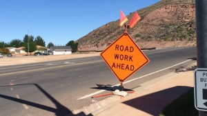 Roadwork sign at the entrance of Indian Hills Drive, St. George, Utah, April 15, 2015 | Photo by Mori Kessler, St. George News