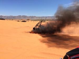 ATV fire at Sand Hollow State Park, Hurricane, Utah, April 4, 2015 | Photo courtesy of Chery Whitelaw Hulet, St. George News