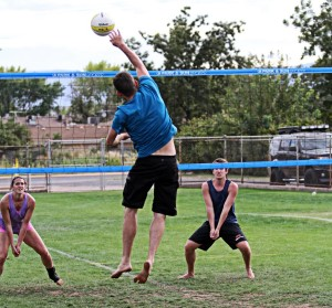 """Players compete in the """"Spring Fling"""" Utah Outdoor Volleyball Association tournament, St. George, Utah, April, 2014 