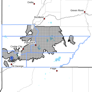 Dots denote areas subject to Winter Weather at 7:45 p.m., Southern Utah, April 12, 2015  Image courtesy of National Weather Service, St. George News   Click on image to enlarge