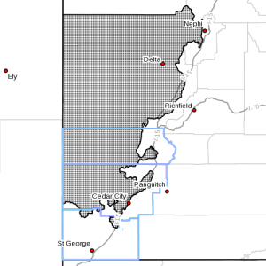 Wind advisory. Dots denote areas subject to Wind Advisory at 5:55 p.m., Southern Utah, April 4, 2015| Image courtesy of National Weather Service, St. George News