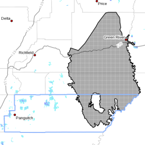 Dots denote areas subject to Hard Freeze warning at 4:05 p.m., Southern Utah, April 8, 2015| Image courtesy of National Weather Service, St. George News