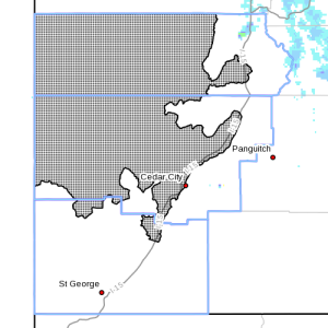 Dots denote areas subject to Hard Freeze warning at 12 a.m., Southern Utah, April 15, 2015| Image courtesy of National Weather Service, St. George News