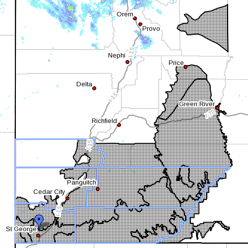 Dots denote areas subject to wind warning, Southern Utah, April 15, 2015, 6:40 a.m. | Image courtesy of the National Weather Service, St. George News