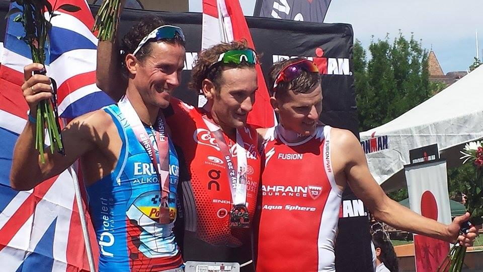 L-R Men's pros: Andreas Raelert, 3rd place; Tim Don, 1st place; Brent McMahon, 2nd place.  Ironman 70.3 St. George, St. George, Utah, May 2, 2015 | Photo by Andy Griffin, St. George News