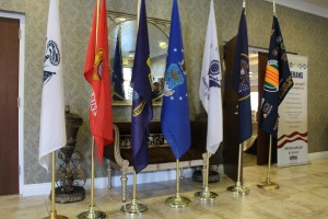 Flags representing the different branches of military, the state of Utah and veterans are displayed at the Veterans Convention held at the Abbey Inn, St. George, Utah, May 30, 2015 | Photo by Sheldon Demke, St. George News