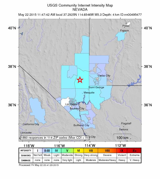 Shake map pinpoints the Caliente, Nevada, earthquake May 22, 2015 | Image courtesy of the U.S. Geological Survey, St. George News