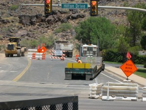 A semitrailer sits on Indian Hills Drive after an incident with a motorcyclist, St. George, Utah, Thursday, May 28, 2015 | Photo by Ric Wayman, St. George News