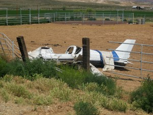 An experimental airplane crashed short of the runway in Hurricane, Saturday May 30, 2015 | Photo by Ric Wayman, St. George News