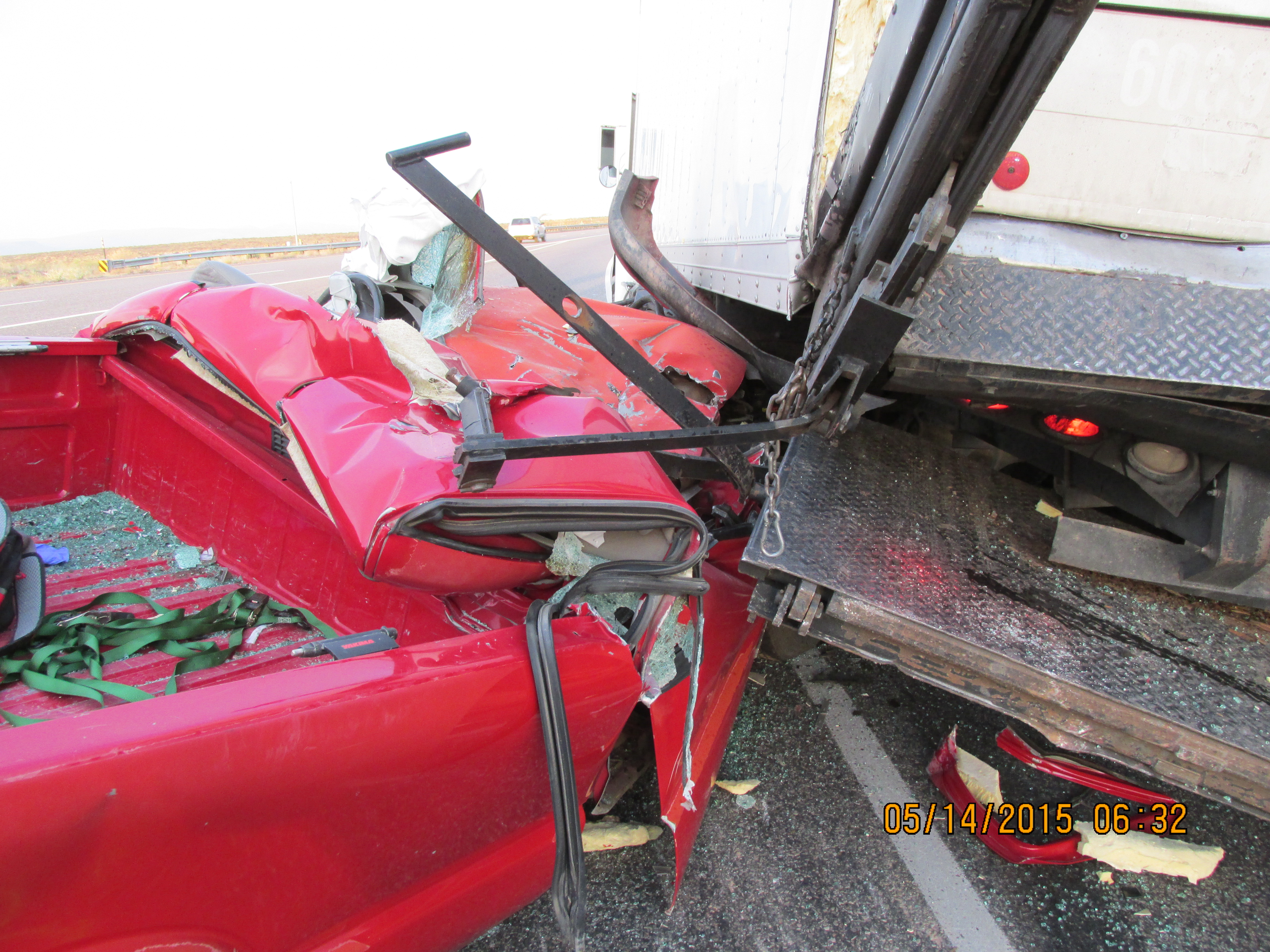 The driver of a Sonoma pickup truck was transported to the hospital after smashing into the back of a Tropic Ice truck near Interstate 15 Exit 16, Washington County, Utah, May 13, 2015 | Photo courtesy of the Utah Highway Patrol