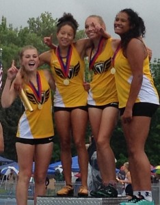 The gold-medal winning Desert Hills 4x100 relay team with (from l to r) Hannah Morby, Abby Taylor, Brooklyn Lott and Jessica Bills, at the state track meet, Provo, Utah, May 15, 2015   Photo by AJ Griffin, St. George News