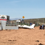 An experimental airplane crashes short of the runway in Hurricane, Utah, May 30, 2015 | Photo by Ron Chaffin, St. George News