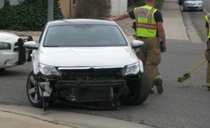 No injuries resulted from an accident on Sunland Drive, St. George, Utah Thursday, May 21, 2015 | Photo by Ric Wayman, St. George News