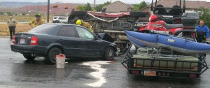 An accident on Telegraph Road sent one woman to the hospital, Washington, Utah, Saturday, May 23, 2015 | Photo by Ric Wayman, St. George News