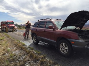 Vehicle fire on Interstate 15, Leeds, Utah, May 20, 2015 | Photo by Cami Cox, St. George News