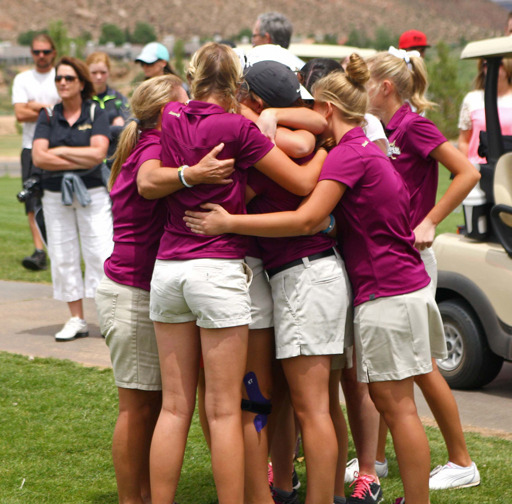 Desert Hills celebrates their team victory, 3A State Girls Golf Championship Tournament, St. George, Utah, May 14, 2015 | Photo by Robert Hoppie, ASPpix.com, St. George News