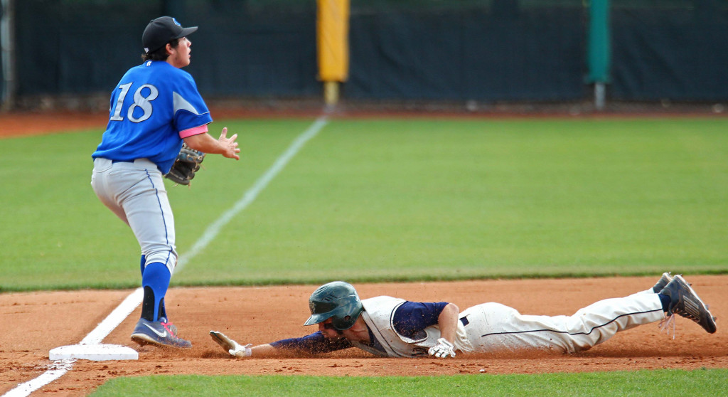 Jake Frei slides in to third base and then scores on a bad throw, Snow Canyon vs. Carbon, Baseball, St. George, Utah, May 15, 2015 | Photo by Robert Hoppie, ASPpix.com, St. George News