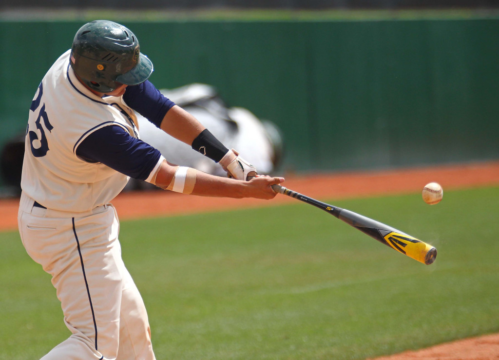 Brady Sargent with a hit for Snow Canyon, Snow Canyon vs. Carbon, Baseball, St. George, Utah, May 15, 2015 | Photo by Robert Hoppie, ASPpix.com, St. George News