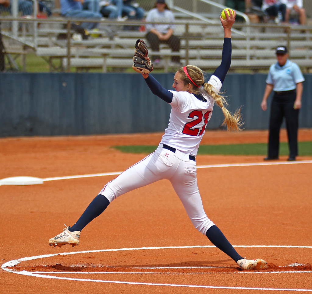 Dixie State pitcher Michelle Duncan (21), Dixie State University vs. Sonoma State University, Softball, St. George, Utah, May 15, 2015 | Photo by Robert Hoppie, ASPpix.com, St. George News