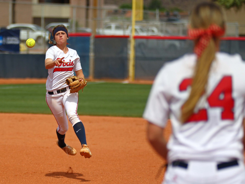 Dixie State shortstop Josey Hartman, file photo from DSU vs. Sonoma State, St. George, Utah, May 15, 2015 | Photo by Robert Hoppie, ASPpix.com, St. George News
