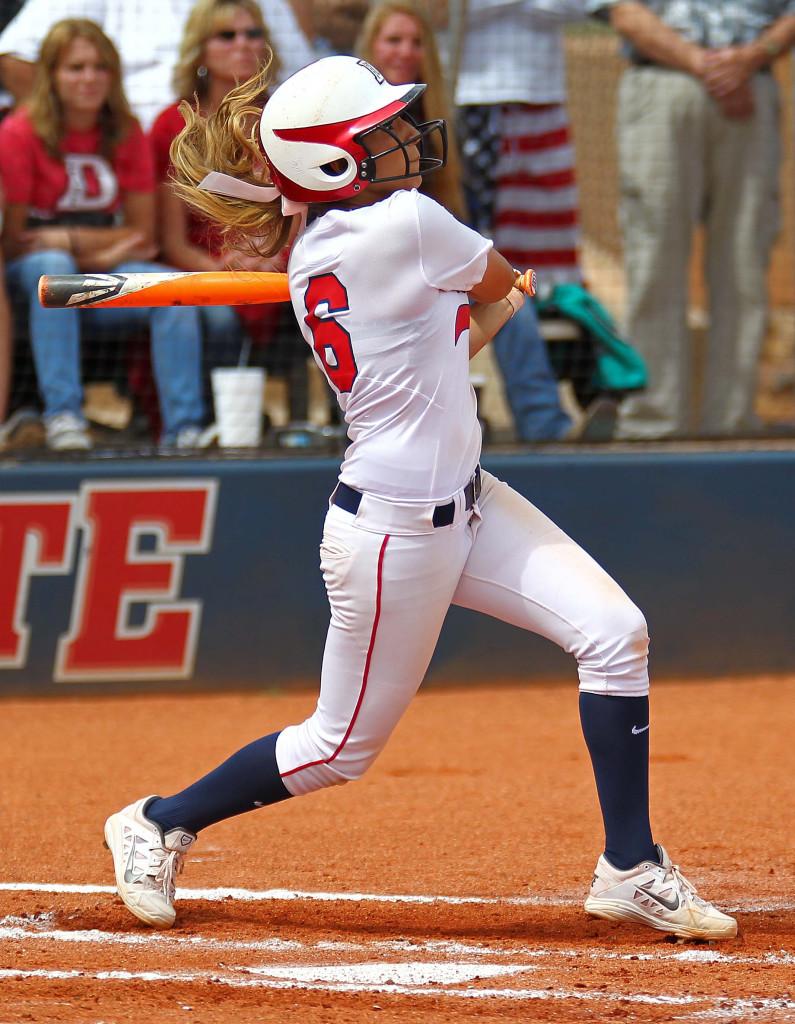Nikki Chavez (6) watches the flight of her two-run home run in the third inning, Dixie State University vs. Sonoma State University, Softball, St. George, Utah, May 15, 2015 | Photo by Robert Hoppie, ASPpix.com, St. George News