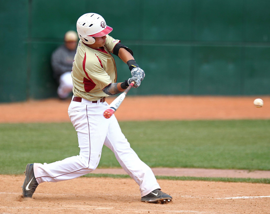 Rykker Tom puts the ball in play for Cedar, Pine View vs. Cedar, 3A State Baseball Championship Game, St. George, Utah, May 16, 2015 | Photo by Robert Hoppie, ASPpix.com, St. George News