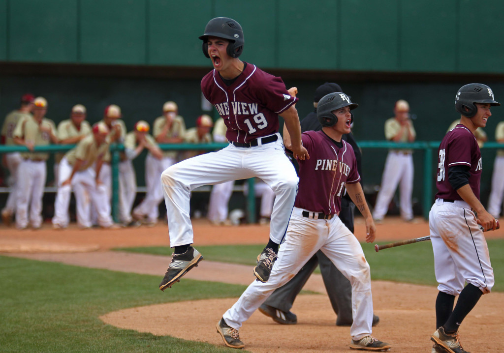 Justin Lewis (19) and Hunter Hansen score the final runs for Pine View, Pine View vs. Cedar, 3A State Baseball Championship Game, St. George, Utah, May 16, 2015 | Photo by Robert Hoppie, ASPpix.com, St. George News