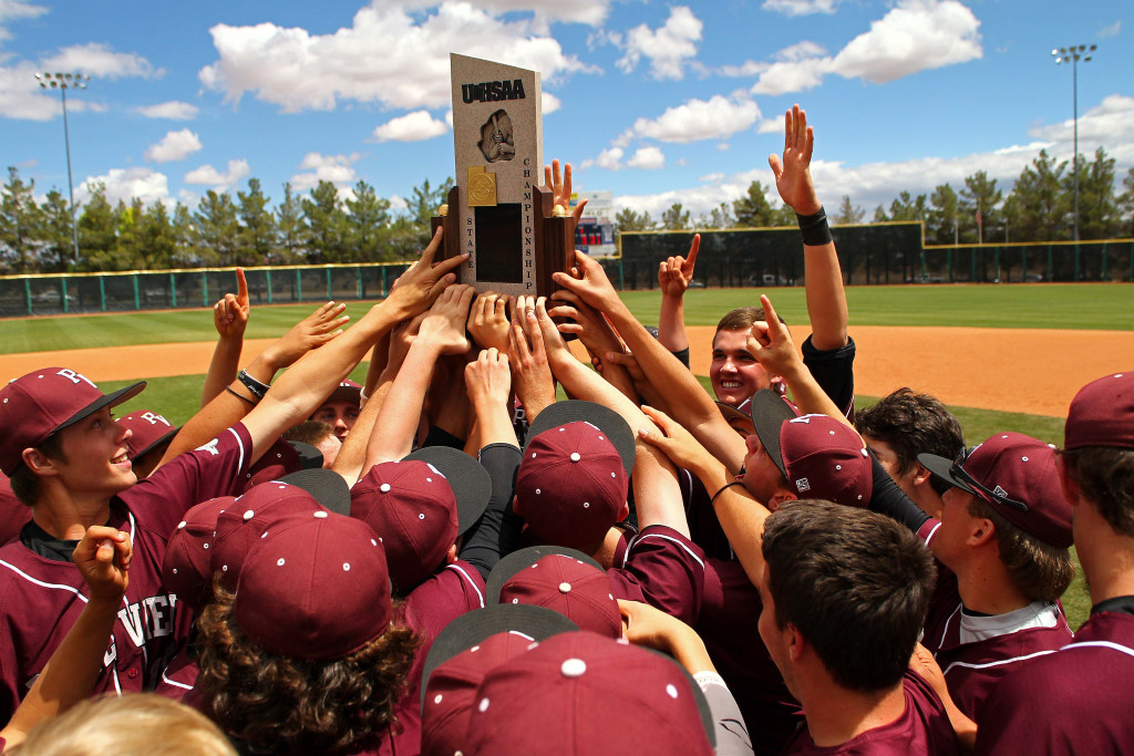 The Panthers celebrate their State Championship win over Cedar, Pine View vs. Cedar, 3A State Baseball Championship Game, St. George, Utah, May 16, 2015 | Photo by Robert Hoppie, ASPpix.com, St. George News