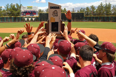 The Panthers hoist the 3A State Championship trophy, Pine View vs. Cedar, 3A State Baseball Championship Game, St. George, Utah, May 16, 2015 | Photo by Robert Hoppie, ASPpix.com, St. George News