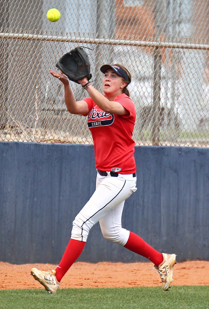Courtney Sherwin runs down a fly ball for Dixie State, Dixie State University vs. Sonoma State University, Softball, St. George, Utah, May 16, 2015 | Photo by Robert Hoppie, ASPpix.com, St. George News