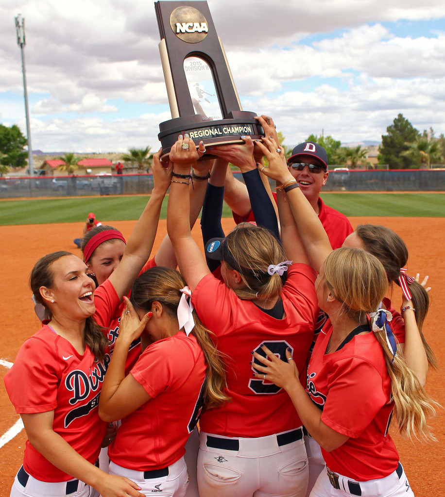 The Dixie State Red Storm hoist the Regional Championship trophy, Dixie State University vs. Sonoma State University, Softball, St. George, Utah, May 16, 2015 | Photo by Robert Hoppie, ASPpix.com, St. George News