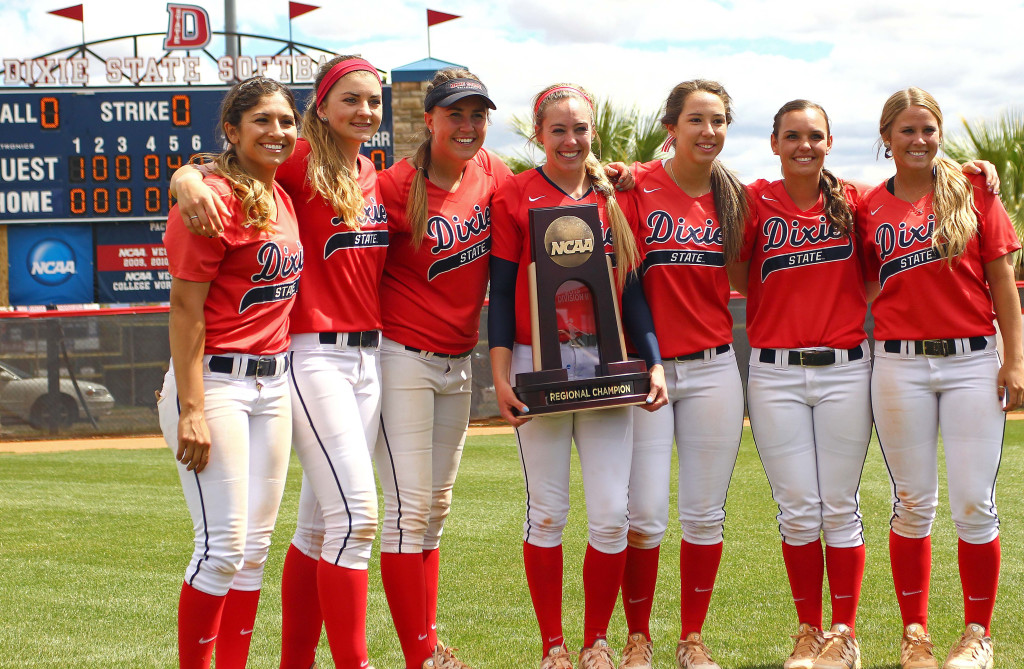 The Dixie State seniors pose with the Regional Championship trophy, Dixie State University vs. Sonoma State University, Softball, St. George, Utah, May 16, 2015 | Photo by Robert Hoppie, ASPpix.com, St. George News