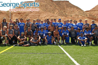 A picture of the two teams that participated in the championship game, with Dixie (in blue) and Desert Hills, Mesquite 7 on 7 Shootout, Mesquite, Nevada, May 30, 2015 | Photo by Robert Hoppie, ASPpix.com, St. George News