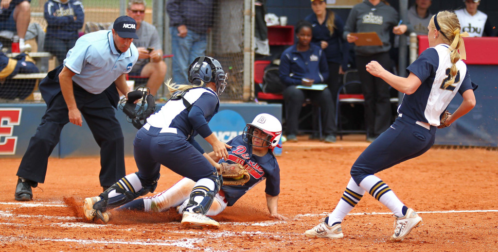 Janessa Bassett slides in to home safely to complete a successful squeeze play for Dixie State, Dixie State University vs. Cal State Baptist University, Softball, St. George, Utah, May 9, 2015 | Photo by Robert Hoppie, ASPpix.com, St. George News