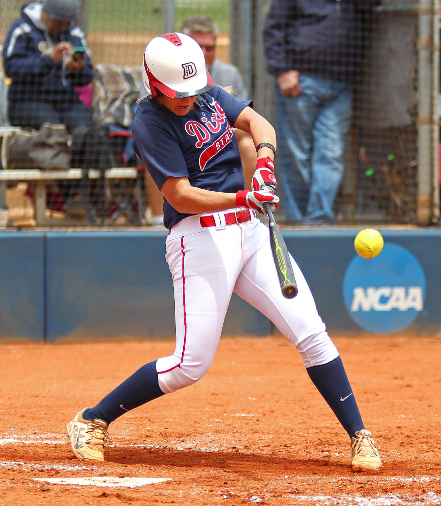 Autumn Woodfall rips a three RBI double for the Red Storm, Dixie State University vs. Cal State Baptist University, Softball, St. George, Utah, May 9, 2015 | Photo by Robert Hoppie, ASPpix.com, St. George News