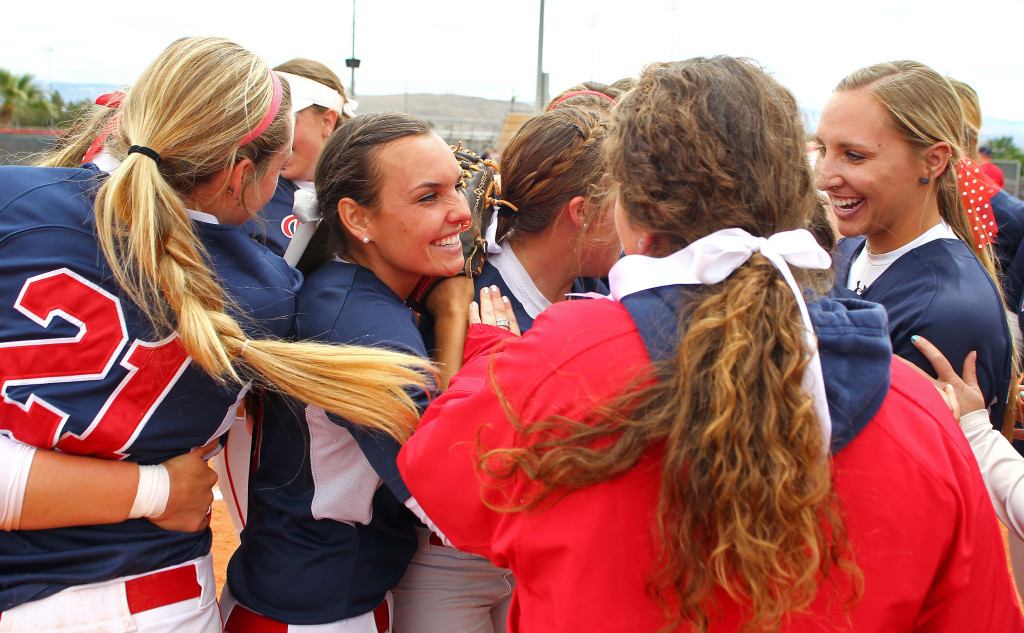 Dixie State University vs. Cal State Baptist University, Softball, St. George, Utah, May 9, 2015 | Photo by Robert Hoppie, ASPpix.com, St. George News