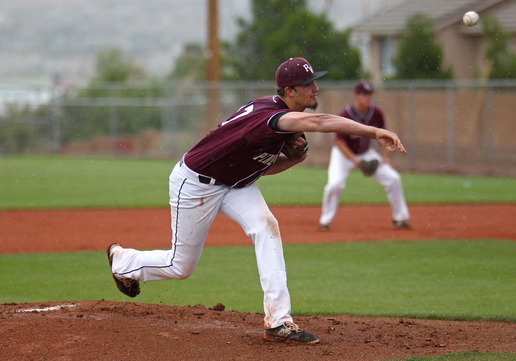 Pine View pitcher Dakota Donovan throws a first inning pitch in the rain, Pine View vs. Juab, Baseball, St. George, Utah, May 9, 2015 | Photo by Robert Hoppie, ASPpix.com, St. George News
