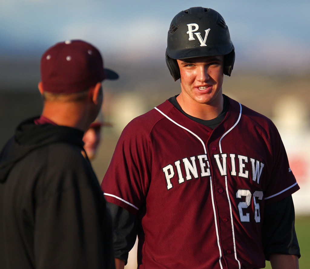 Harrison Goebel and Panthers head coach Micheal Gargano, Pine View vs. Juab, Baseball, St. George, Utah, May 9, 2015 | Photo by Robert Hoppie, ASPpix.com, St. George News
