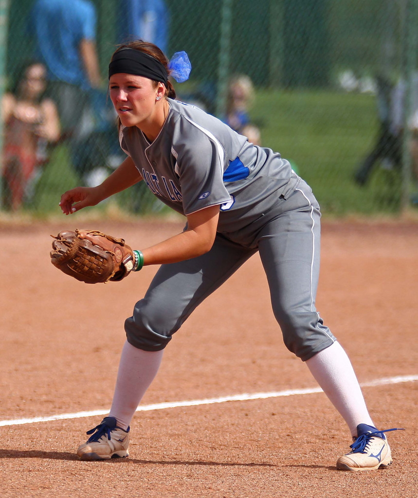 Former Pine View Panther and current SLCC Bruin Kirsten Anderson, NJCAA Division I National Championship Softball Tournament, St. George, Utah, May 13, 2015 | Photo by Robert Hoppie, ASPpix.com, St. George News