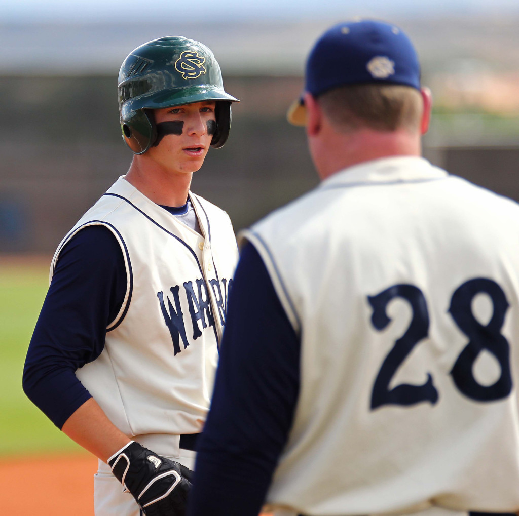 Jackson Nowatzke and Warrior Head Coach Reed Secrist (28), file photo from Snow Canyon vs. Payson, Baseball, St. George, Utah, May 14, 2015   Photo by Robert Hoppie, ASPpix.com, St. George News