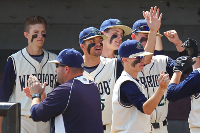 The Snow Canyon bench congratulates Jackson Nowatzke (14) after scoring the first run of the game, Snow Canyon vs. Payson, Baseball, St. George, Utah, May 14, 2015 | Photo by Robert Hoppie, ASPpix.com, St. George News