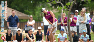 Desert Hills' Katie Perkins chips to the green, 3A State Girls Golf Championship Tournament, St. George, Utah, May 14, 2015   Photo by Robert Hoppie, ASPpix.com, St. George News