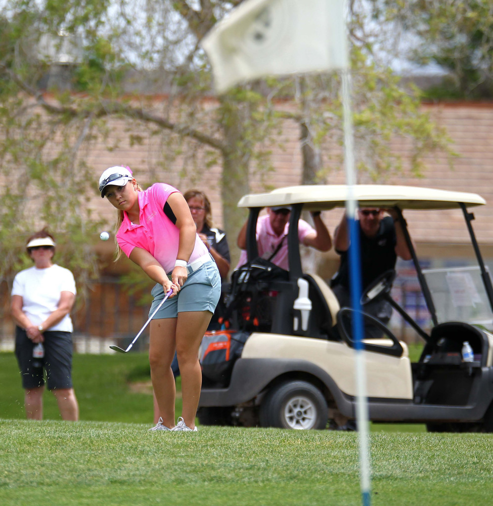 Pine View's Taylor Bandley with a chip, 3A State Girls Golf Championship Tournament, St. George, Utah, May 14, 2015 | Photo by Robert Hoppie, ASPpix.com, St. George News