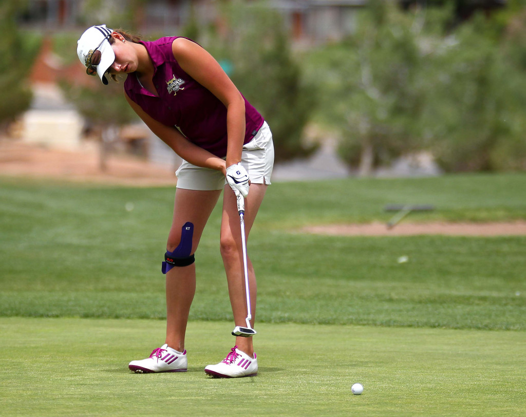 Desert Hills' Katie Perkins sinks a long put at the 18th hole, 3A State Girls Golf Championship Tournament, St. George, Utah, May 14, 2015 | Photo by Robert Hoppie, ASPpix.com, St. George News