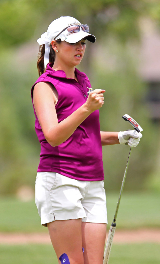 Desert Hills' Katie Perkins after sinking her putt at the 18th hole, 3A State Girls Golf Championship Tournament, St. George, Utah, May 14, 2015 | Photo by Robert Hoppie, ASPpix.com, St. George News