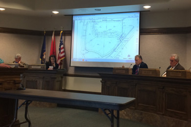 The City Council listens to plans to take care of excess runoff at the Windmill Plaza development, Cedar City, Utah, May 28, 2015 | Photo by Nataly Burdick, St. George News